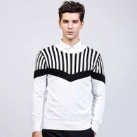 White stripe pattern pull over long sleeve sweater 1206 01