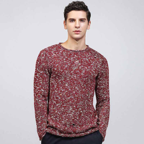 Red texture pull over long sleeve knit sweater 01