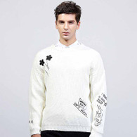 White floral text print pull over long sleeve sweater 01