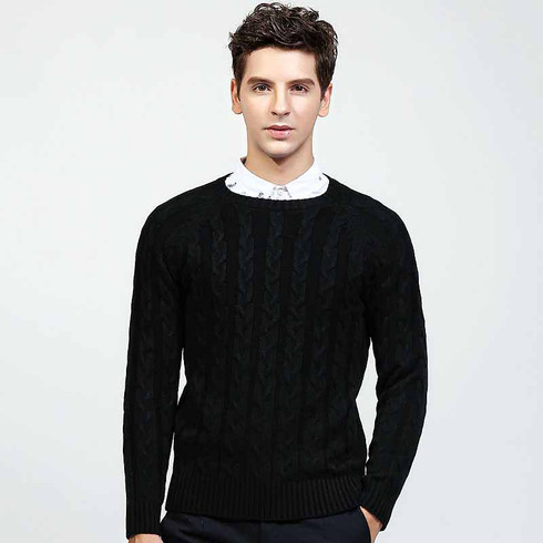 Black pattern plain pull over long sleeve sweater 01