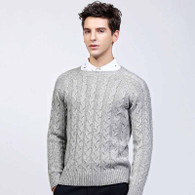 Grey pattern plain pull over long sleeve sweater 01