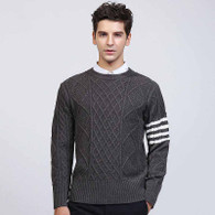 Grey check stripe pull over long sleeve sweater 01