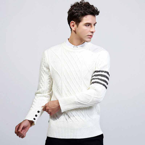 White check stripe pull over long sleeve sweater 01