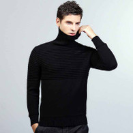 Black stripe plain high neck long sleeve cotton sweater 01