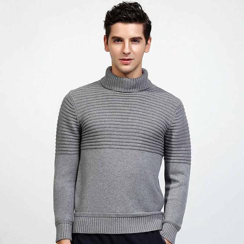 Grey stripe plain high neck long sleeve cotton sweater 01