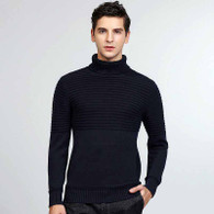 Navy stripe plain high neck long sleeve cotton sweater 01