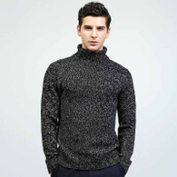 Black knit pattern high neck pull over long sleeve sweater 01