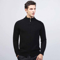 Black plain knit zip long sleeve sweater 01