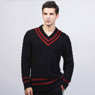 Black knit red stripe pull over long sleeve sweater 01