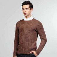 Brown knit pattern pull over long sleeve sweater 01
