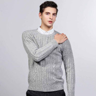 Grey knit pattern pull over long sleeve sweater 01