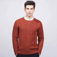 Orange knit pattern pull over long sleeve sweater 01