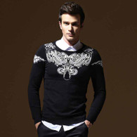 Black art pattern pull over long sleeve sweater 01