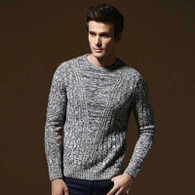Gey V style knit pattern pull over long sleeve sweater 01