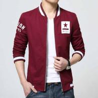Red text pattern stripe zip jacket 01