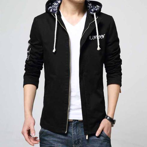 Black text pattern straight zip jacket hoodies 01