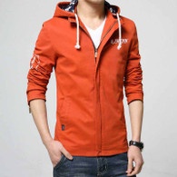 Orange text pattern straight zip jacket hoodies 01