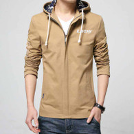Khaki brown text pattern straight zip jacket hoodies 01