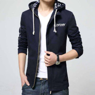 Navy text pattern straight zip jacket hoodies 01