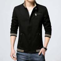 Black stripe chest pocket zip jacket 01