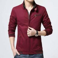 Red stripe chest pocket zip jacket 01