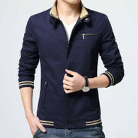 Navy stripe chest pocket zip jacket 01