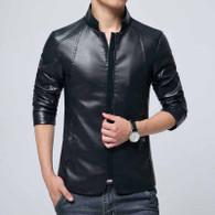 Black simply plain long sleeve zip jacket 01