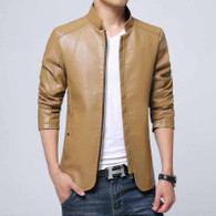 Khaki simply plain long sleeve zip jacket 01