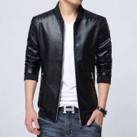 Black simply plain long sleeve zip jacket 1225 01