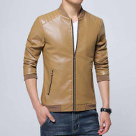 Khaki simply plain long sleeve zip jacket 1225 01