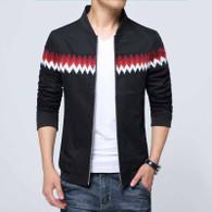 Black contrast color pattern zip jacket 01