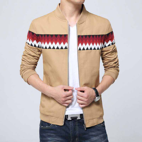 Khaki contrast color pattern zip jacket 01