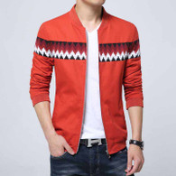 Orange contrast color pattern zip jacket 01