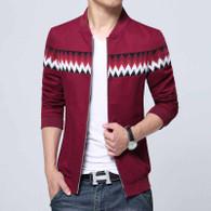 Red contrast color pattern zip jacket 01
