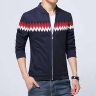 Navy contrast color pattern zip jacket 01