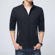 Black texture detail long sleeve zip jacket 01