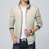 Khaki texture detail long sleeve zip jacket 01