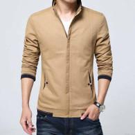Brown texture detail long sleeve zip jacket 01