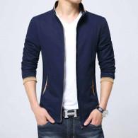 Blue texture detail long sleeve zip jacket 01