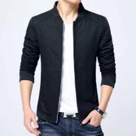 Black simple plain long sleeve zip jacket 01