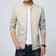 Khaki simple plain long sleeve zip jacket 01