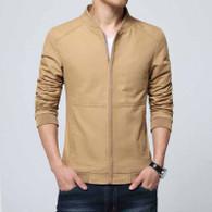 Brown simple plain long sleeve zip jacket 01