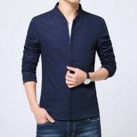Blue simple plain long sleeve zip jacket 01