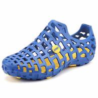 Blue plain hollow out slip on shoe sandal 01