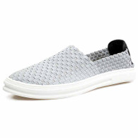 Grey knit pattern simple slip on shoe sneaker 01