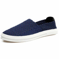 Blue knit pattern simple slip on shoe sneaker 01