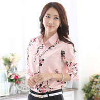 Pink floral pattern print long sleeve button shirt 01