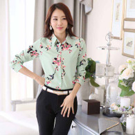 Green floral pattern print long sleeve button shirt 01