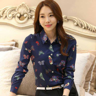 Navy graffiti butterfly print long sleeve button shirt 01