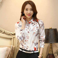 Beige white floral print long sleeve button shirt 01